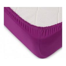Простыня на резинке трикотажная фиолетовая