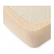 Простыня на резинке кремовая (трикотаж, махра)
