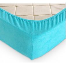 Простыня на резинке махровая голубая