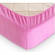 Простыня на резинке махровая ярко розовая