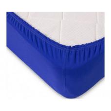 Простыня на резинке синяя (трикотаж, поплин)