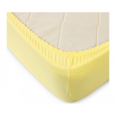 Простыня на резинке трикотажная желтая
